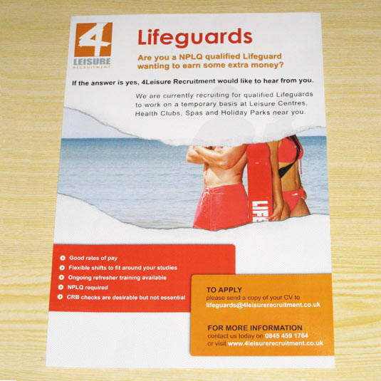 Lifeguard Poster for 4Leisure Recruitment Ltd