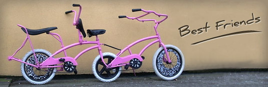 A pink tandem bike