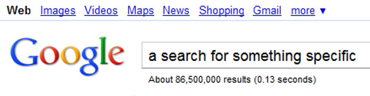 A search for something spceific shows 86.5m results