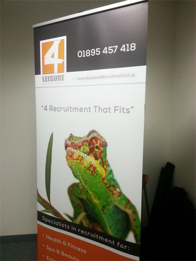 Banner stand for 4Leisure