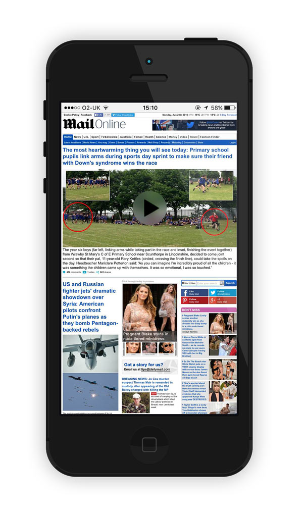 Non-responsive Daily Mail website