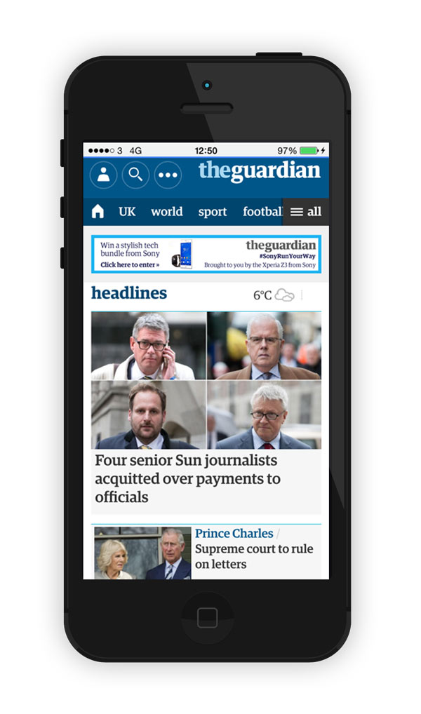 The Guardian website works beautifully on just about any device