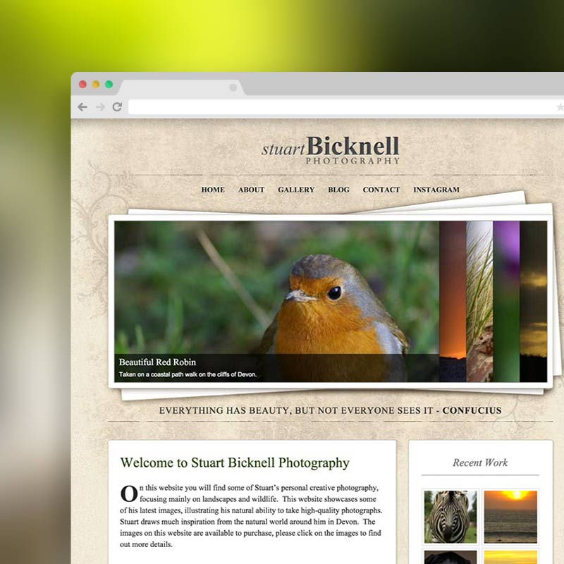 Photography Website for Stuart Bicknell Photography