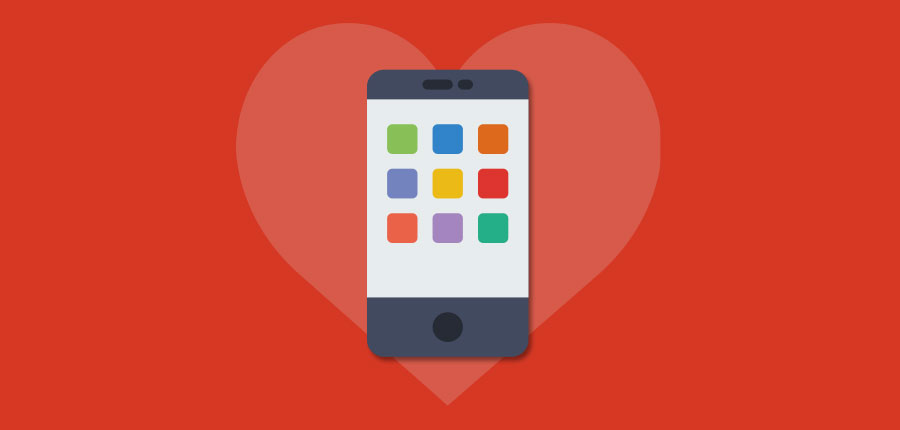 mobile-first website on phone with hearts